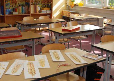 Klassenraum mit Unterrichtsmaterial